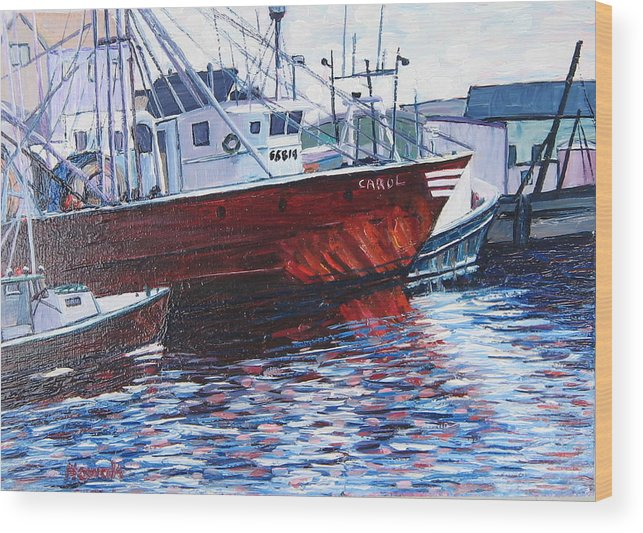 Boats Wood Print featuring the painting Red Boats by Richard Nowak