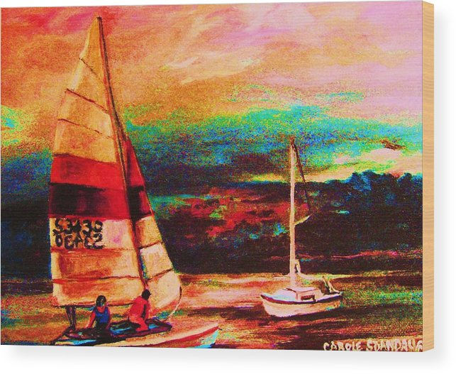 Sailing Wood Print featuring the painting Red Sails In The Sunset by Carole Spandau