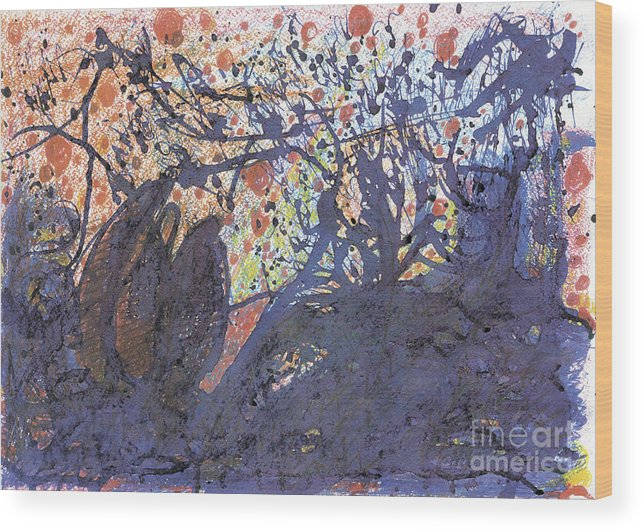 Contemporary Painting Wood Print featuring the painting red snow, 19 March 2015 by Tatiana Chernyavskaya