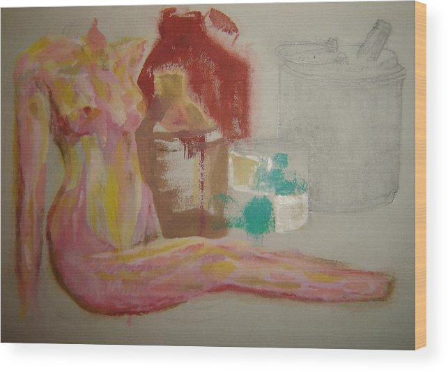 Female Nude Wood Print featuring the mixed media Right Arm by Dean Corbin