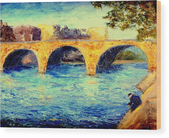 Impressionism Wood Print featuring the painting River Seine Bridge by Gail Kirtz
