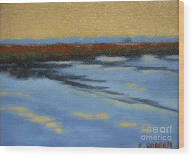 Landscape Wood Print featuring the painting River's Edge by Laura Roberts