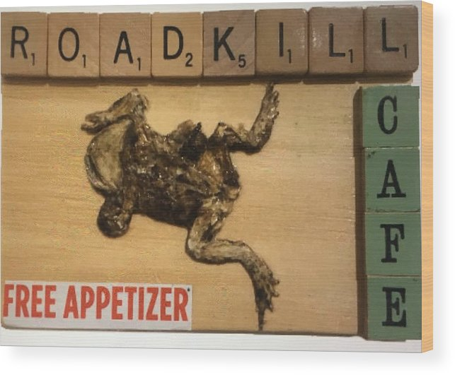 Collage Wood Print featuring the mixed media Roadkill Cafe by Douglas Fromm