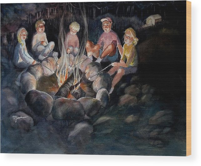 Family Wood Print featuring the painting Roasting Marshmallows by Marilyn Jacobson