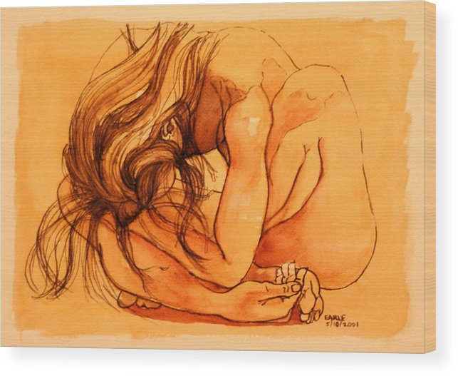 Female Figure Wood Print featuring the painting Rome Series V by Dan Earle