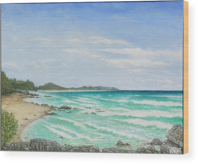 Seascape Wood Print featuring the painting Second Bay Coolum Beach by Joe Michelli