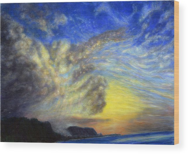 Coastal Decor Wood Print featuring the painting Secret Beach Sunset by Kenneth Grzesik