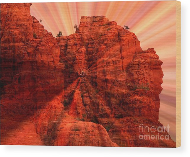 Sedona Wood Print featuring the photograph Sedona Sunset Energy - Abstract Art by Carol Groenen