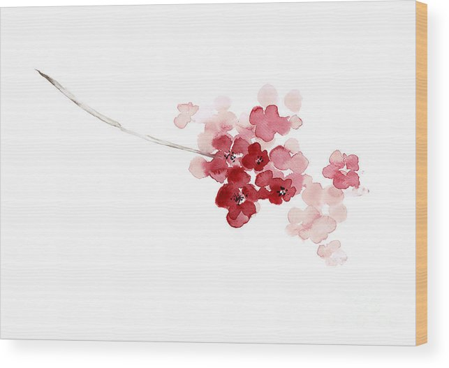 Baby Girl Nursery Decor Painting Wood Print Featuring The Painting Cherry Blossom Abstract Flower,  Shabby Chic Pink Watercolor Painting