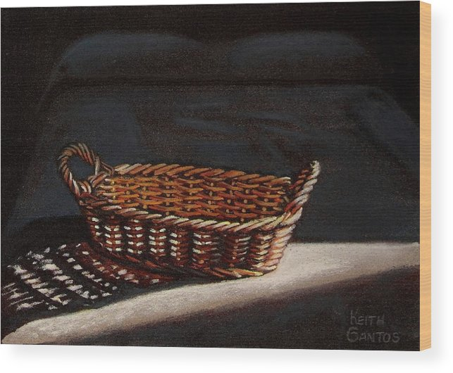 Basket Wood Print featuring the drawing She Is Sleeping by Keith Gantos