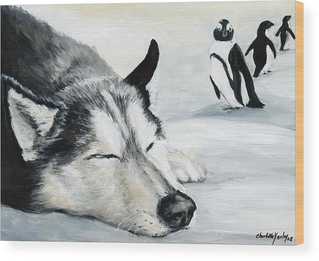 Siberian Huskey Wood Print featuring the painting Siberian Huskey by Charlotte Yealey