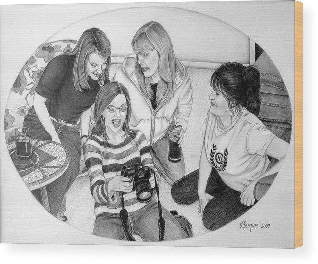 Wood Print featuring the drawing Sisters by Colleen Marquis