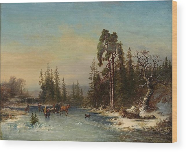 Joseph Magnus Stack 1812-1868 Skating Children And Slädekipage On Frozen Pond Wood Print featuring the painting Skating Children by MotionAge Designs