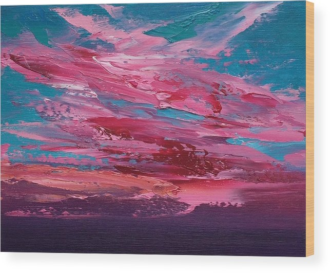 Landscape Wood Print featuring the painting Skyscape by Whitney Knapp Bowditch