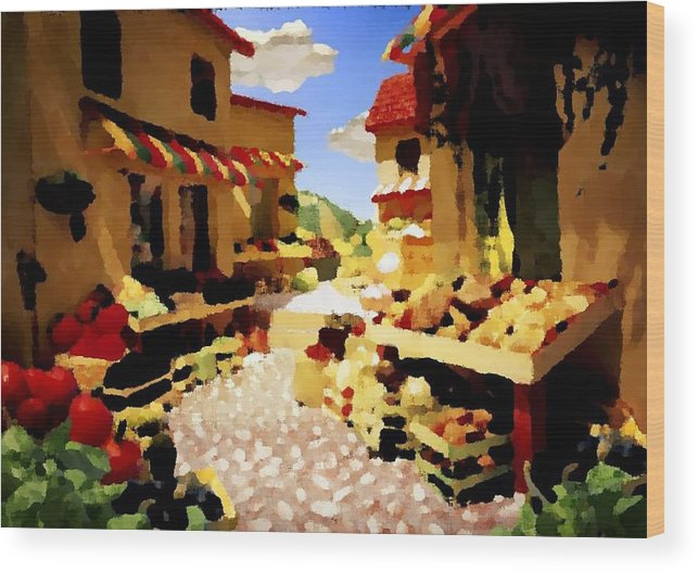 Market.town.street.road.houses.shadow.things For Sale.heat.rest.silence. Wood Print featuring the digital art small urban market on Capri island by Dr Loifer Vladimir
