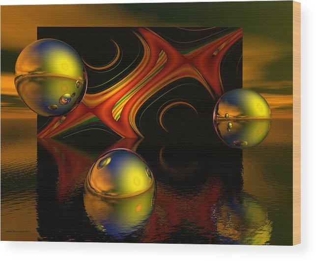 Solar Wood Print featuring the digital art Solar Eclipse by Sandra Bauser Digital Art