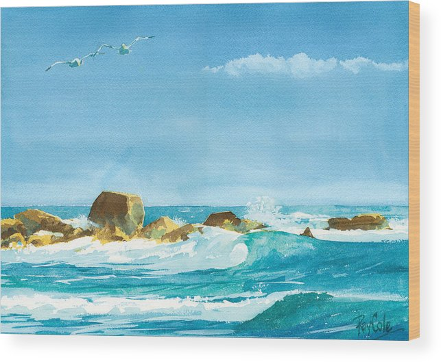 Waves Wood Print featuring the painting Sound Of Surf by Ray Cole