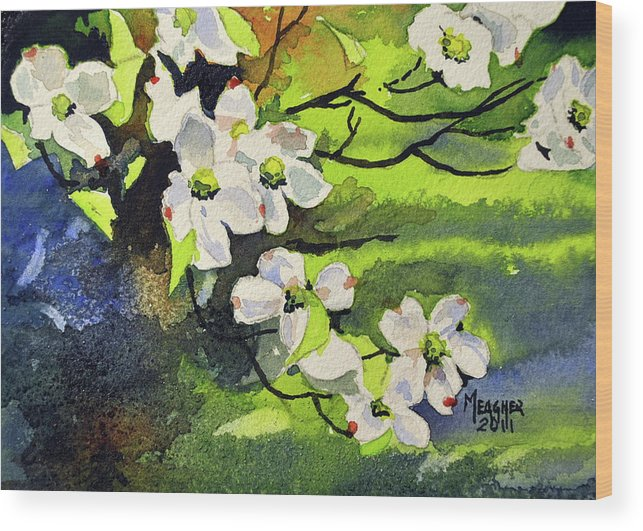 Dogwood Wood Print featuring the painting Spring Dogwoods by Spencer Meagher