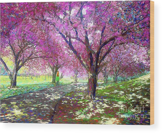 Sun Wood Print featuring the painting Cherry Blossom by Jane Small