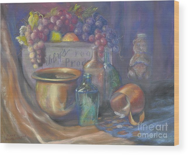 Still Life Paintings Wood Print featuring the painting Still Life Honey Bear by Penny Neimiller