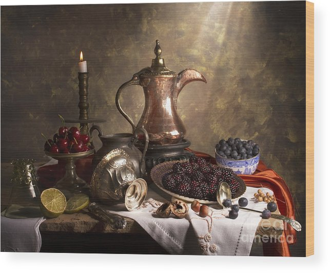 Still Life Wood Print featuring the photograph Still Life With Arabian Coffee Pot by Jon Wild