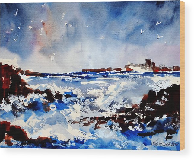 Seascape Wood Print featuring the painting Stormy Skelligs by Wilfred McOstrich