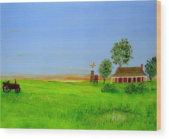 Australia Wood Print featuring the painting Sunrise - Country Australia Painting by Fran Caldwell