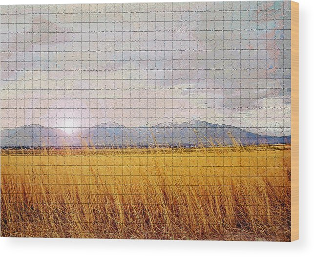 Sunrise Wood Print featuring the photograph Sunrise Field 1 - Mosaic Tile Effect by Steve Ohlsen
