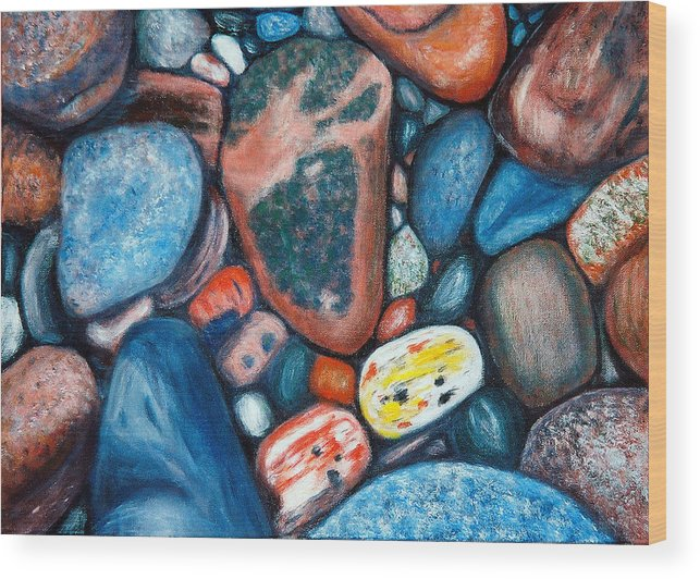 Rocks Wood Print featuring the painting Superior View by Patricia Ortman
