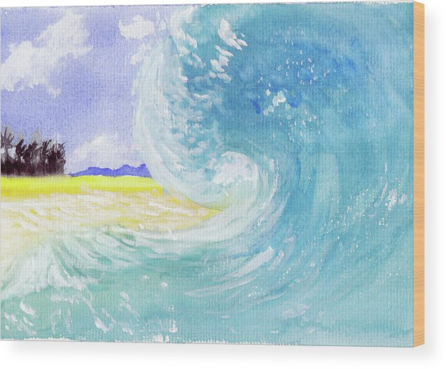 Seascape Wood Print featuring the painting Surfing Time by Xiao Zeng