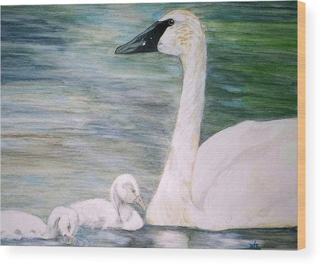 Swan Wood Print featuring the painting Swans by Debra Sandstrom