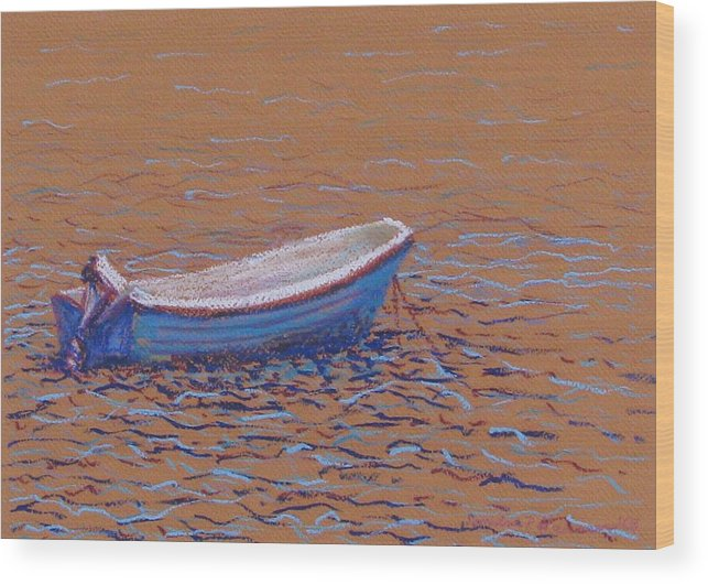 Boat Wood Print featuring the pastel Swedish Boat by Art Nomad Sandra Hansen
