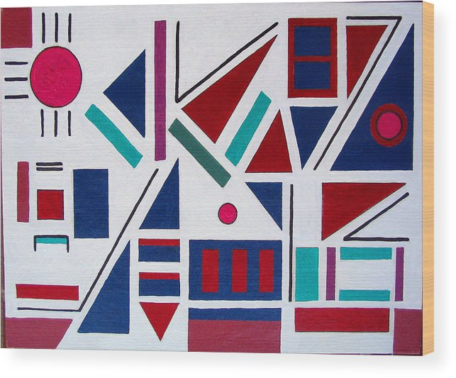 Abstract Wood Print featuring the painting Symmetry In Blue Or Red by Marco Morales