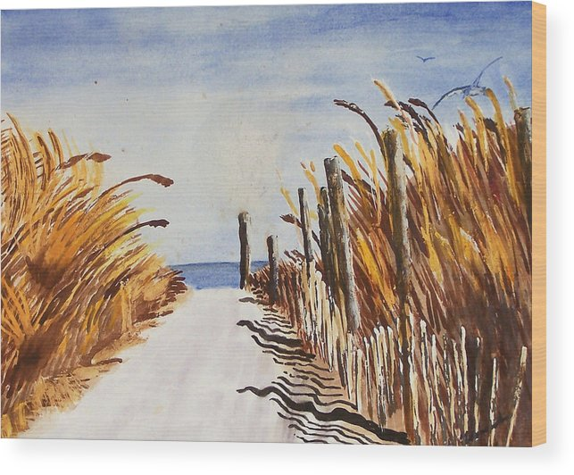 Beach Wood Print featuring the painting Tall Grass With Drift Fence by Robert Thomaston