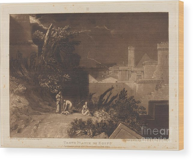 Wood Print featuring the drawing Tenth Plague Of Egypt by Joseph Mallord William Turner And William Say
