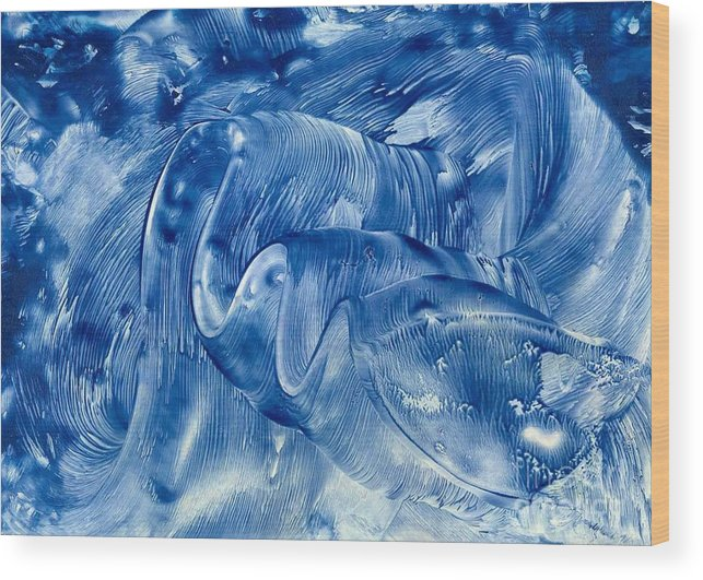 Abstract Wood Print featuring the painting The Blue Wave by Heather Hennick