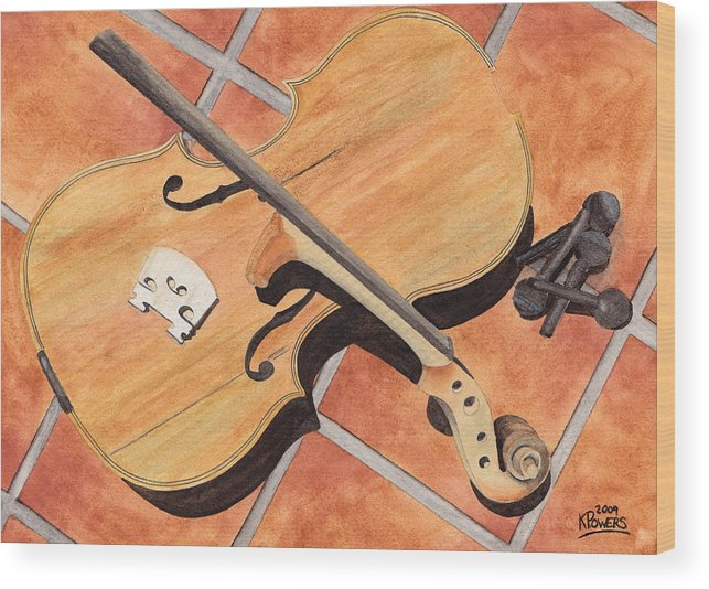Violin Wood Print featuring the painting The Broken Violin by Ken Powers