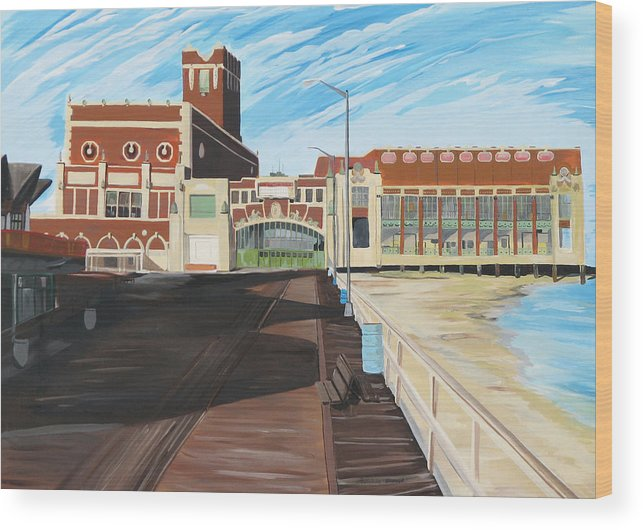 Asbury Art Wood Print featuring the painting The Convention Hall Asbury Park by Patricia Arroyo