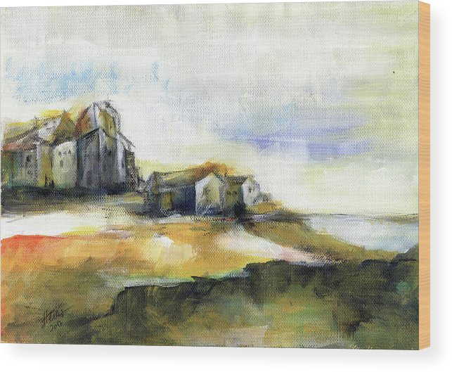 Abstract Landscape Wood Print featuring the painting The Fortress by Aniko Hencz