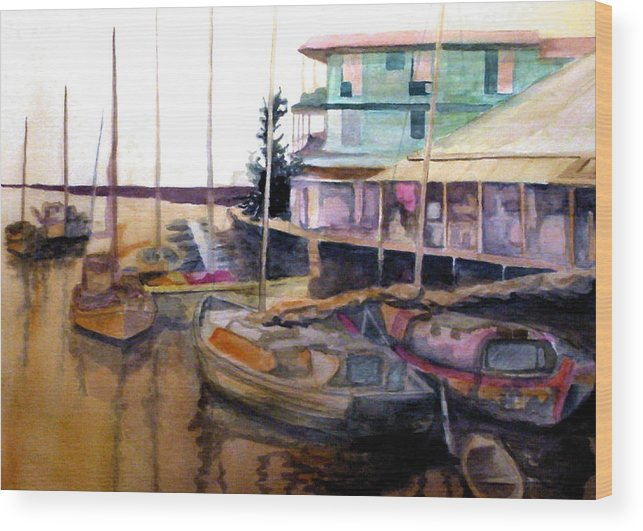 Marina Wood Print featuring the painting The Marina by Jim Phillips