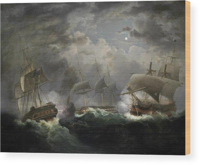 John Lynn Wood Print featuring the painting The Night Action by John Lynn