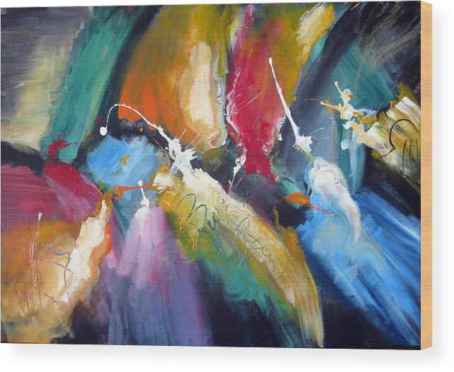 Abstract Colorfull Energetic Modern Contemporary Enlightening Wood Print featuring the painting The Night Queen by Dan Bunea