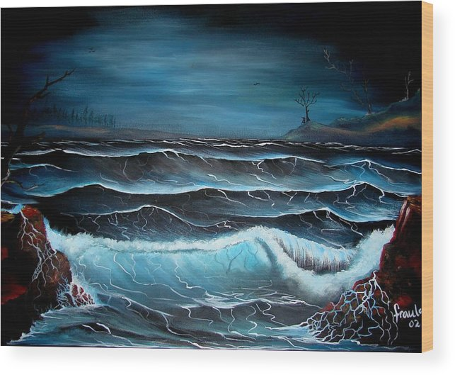 Landscape Wood Print featuring the painting The Rage by Glory Fraulein Wolfe