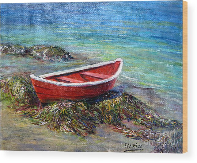 Boat Wood Print featuring the painting The Red Boat by Jeannette Ulrich