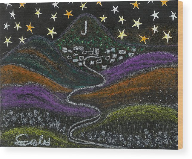 Stars Wood Print featuring the drawing The Road To Jerome 89a Az by Ingrid Szabo