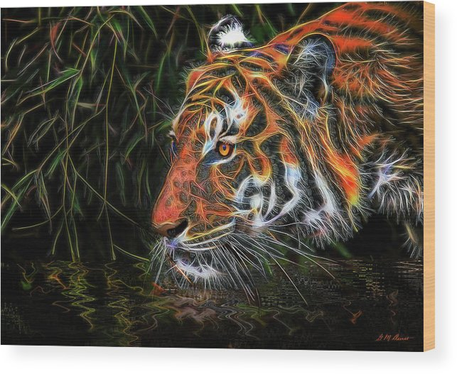 Tiger Wood Print featuring the mixed media The Spirit Of The Tiger by Michael Durst