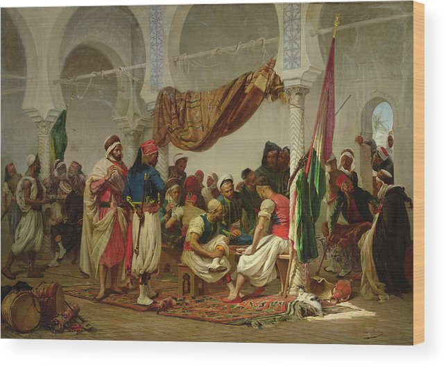 The Turkish Cafe Wood Print featuring the painting The Turkish Cafe by Charles Marie Lhuillier