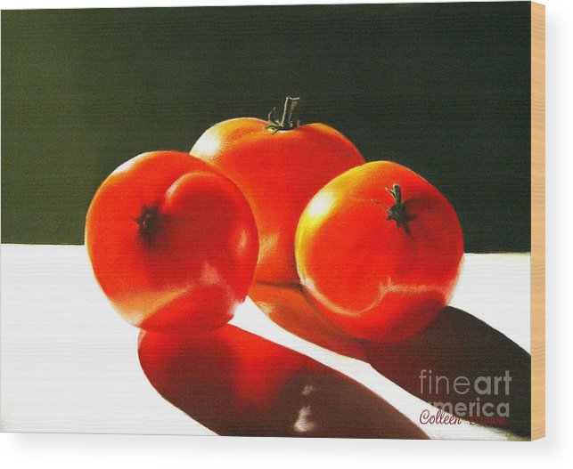 Red Wood Print featuring the painting Tomayta Tomato by Colleen Brown