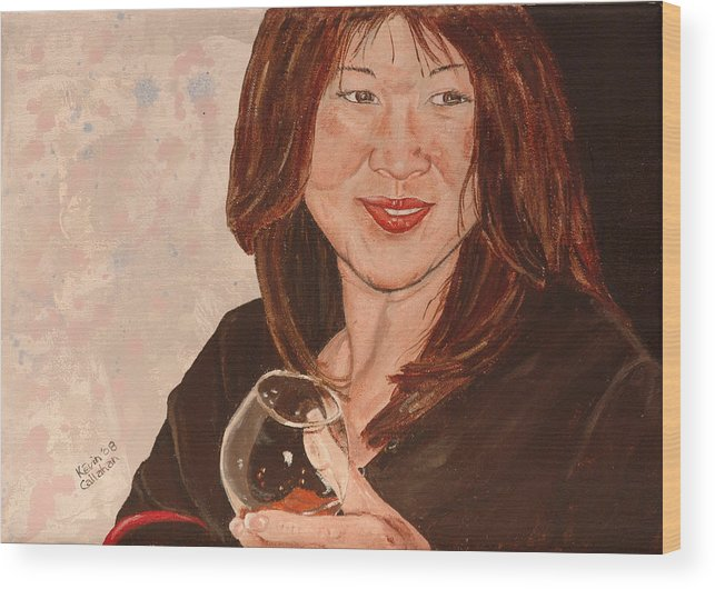 Brandy Wood Print featuring the painting Tracey Comes To Dinner by Kevin Callahan