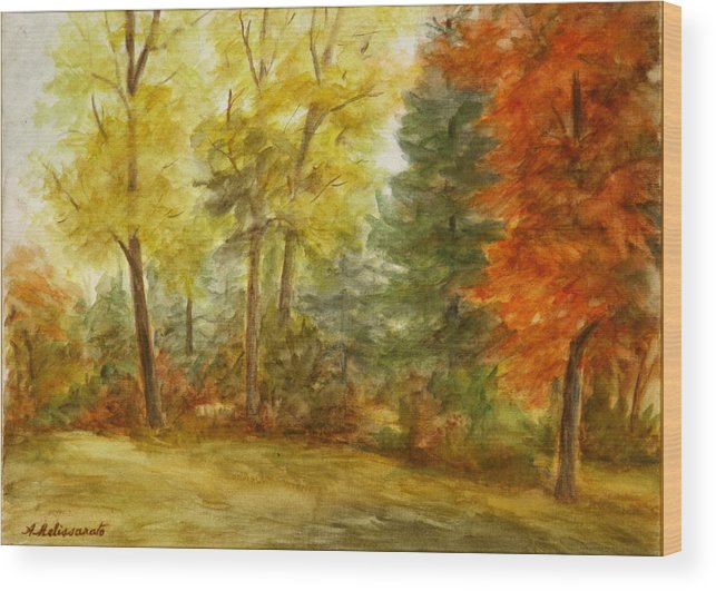 Landscape Wood Print featuring the painting Trees At Fall by Artemis Melissarato